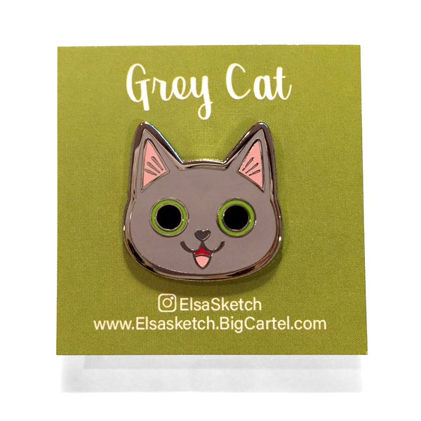 Image of Grey Cat Enamel Pin