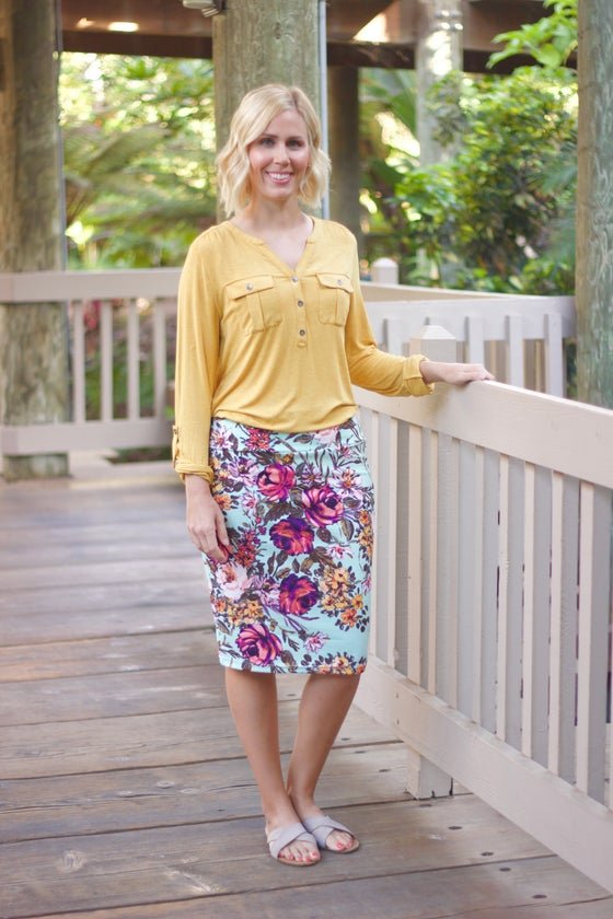 Image of Mint & Mustard floral skirt