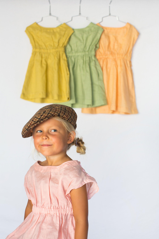 07abb68def www.nimbikids.com — Vintage Lola Linen Dress - Rhubarb
