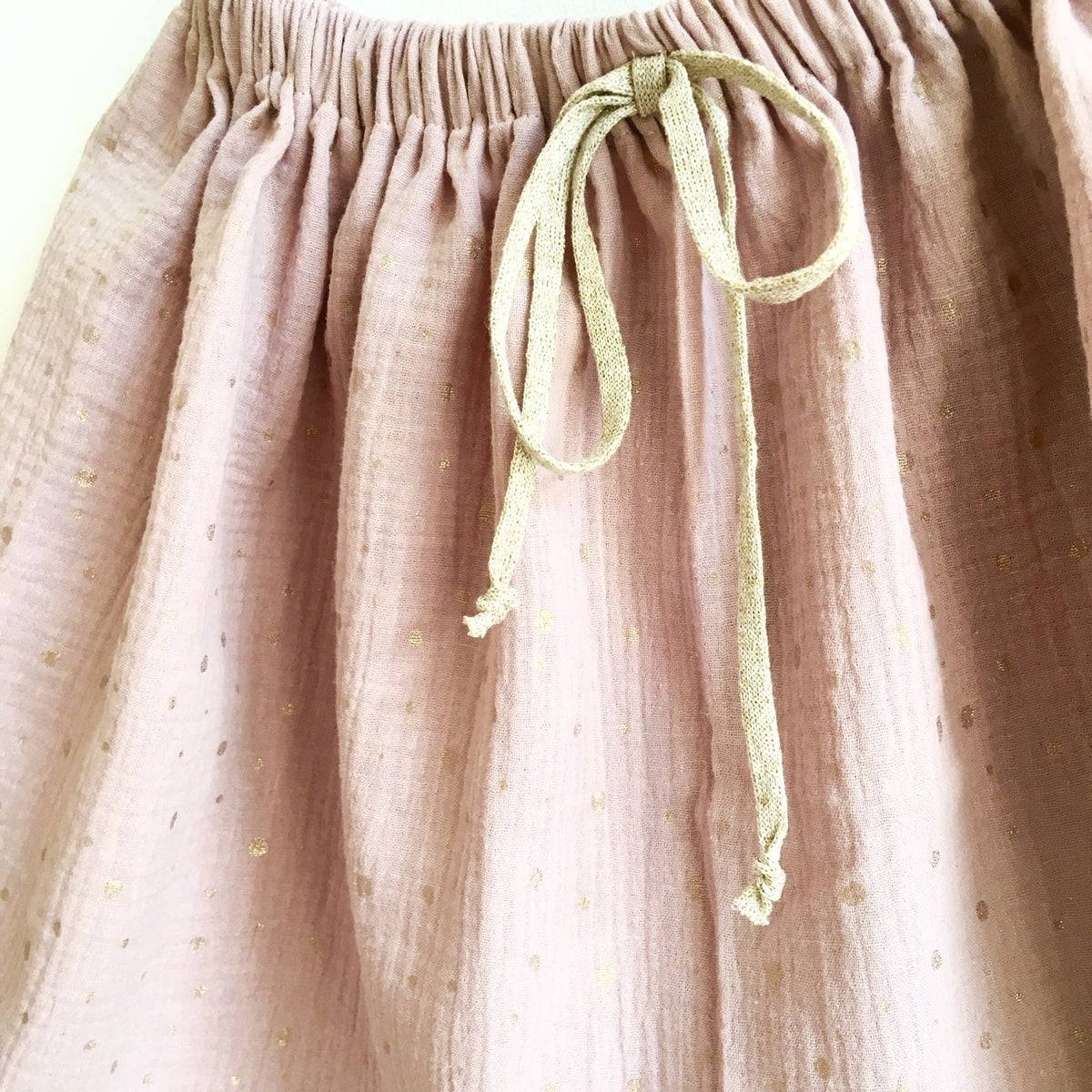 Easy Skirt- rose gauze with golden sprinkles