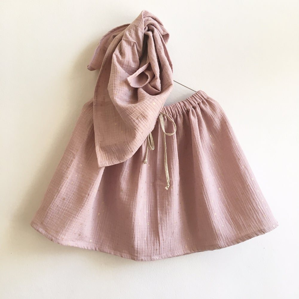 Image of Easy Skirt- rose gauze with golden sprinkles