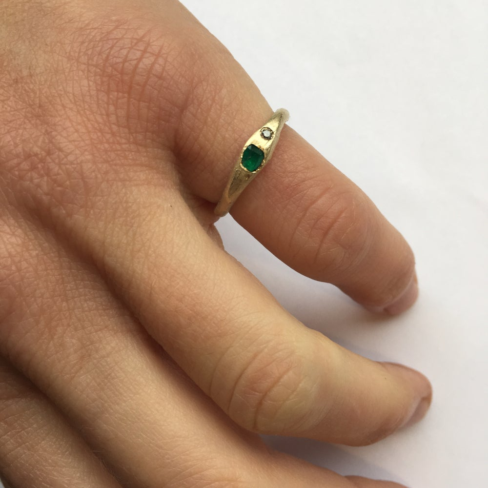 Image of Emerald Ring with Salt and Pepper Diamonds
