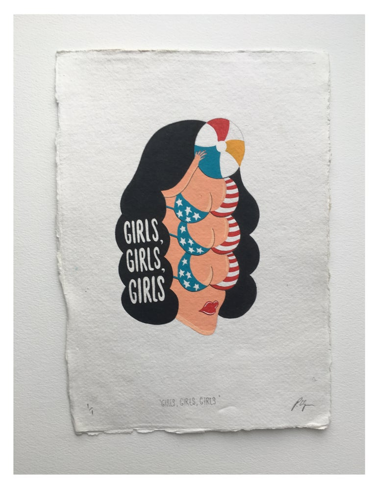 Image of ' Girls, Girls, Girls ' A4 Hand Painting.