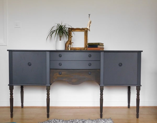 Image of Rust & dark grey wooden sideboard