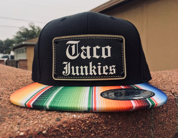 Image of Taco junkies old English sarape hat