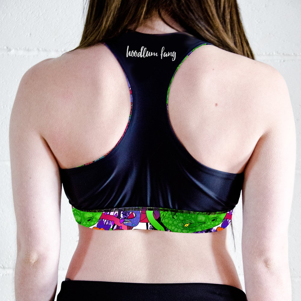 Image of Dinosaurs Racer Back Sports Crop Top