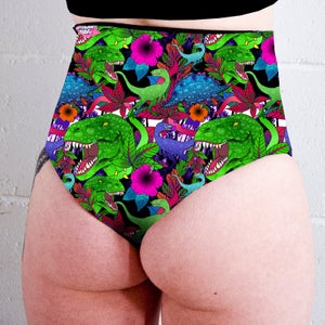 Image of Dinosaurs High Waisted Twerk Thong Shorts