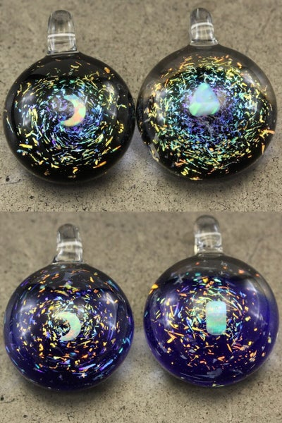 Image of Space Vortex Dichroic Glass Pendant with Opal