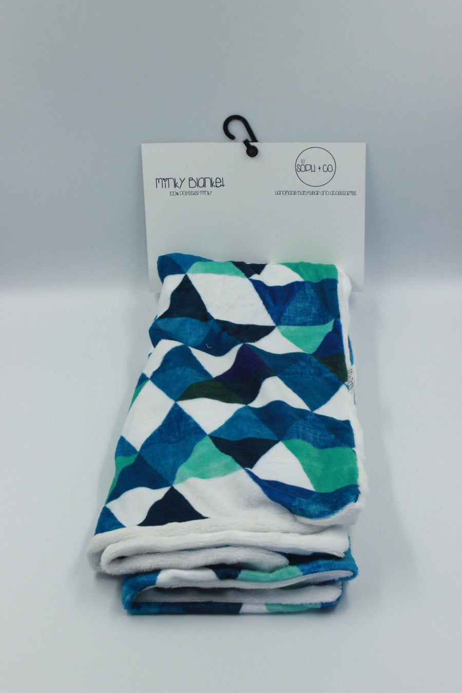 Image of Minky Blanket - Triangles - Blue