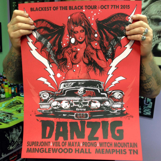 Image of Danzig silkscreen poster from the Memphis show - limited to 138 - signed and numbered