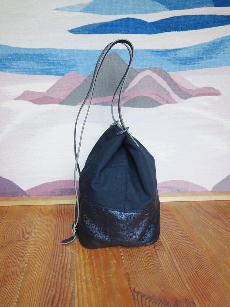 Image of Asa BLACK LEATHER + BLACK CANVAS Utility Tote/Backpack // Parent Bag