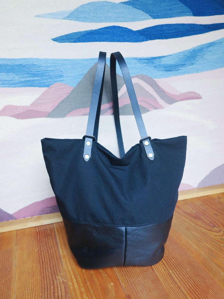 Image of Asa BLACK LEATHER + BLACK CANVAS Utility Tote/Backpack // Parent Bag