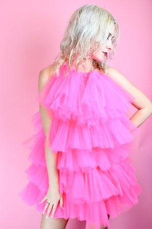 Image of RUFFLE HALTER NECK RUFFLE DRESS IN PINK