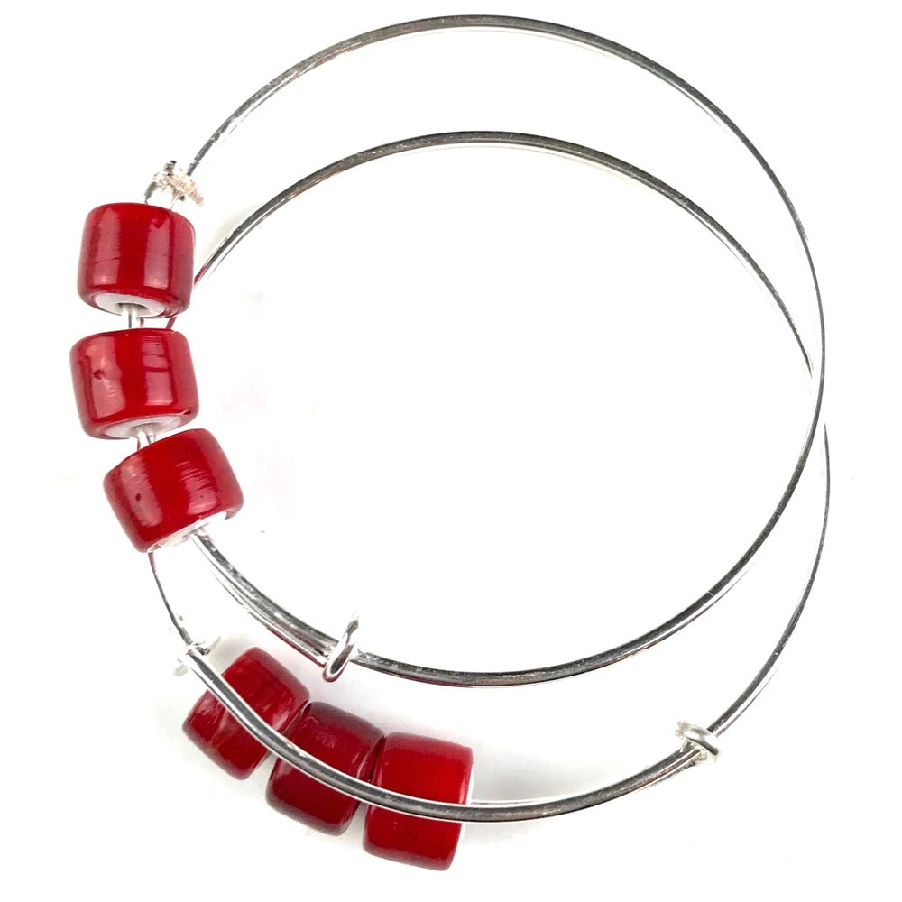 Image of White Heart Trade Bead Bangles