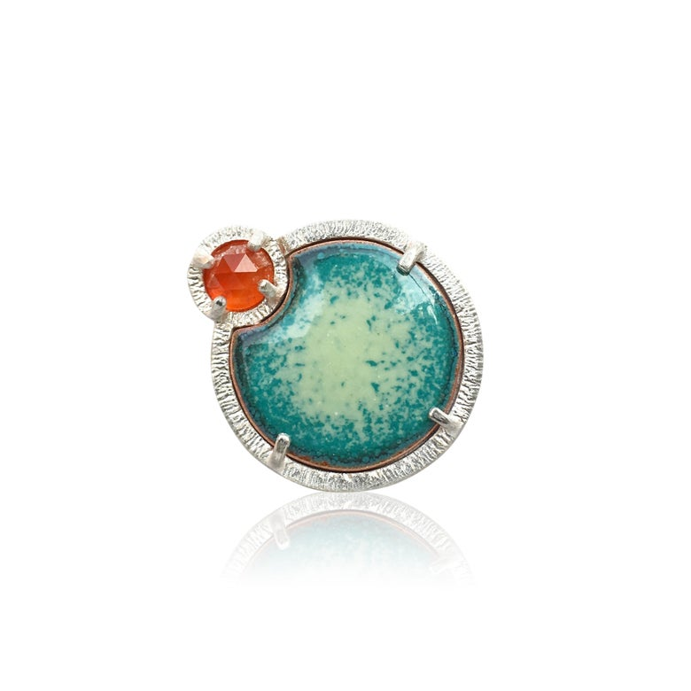 Image of eclipse ring in carnelian and enamel