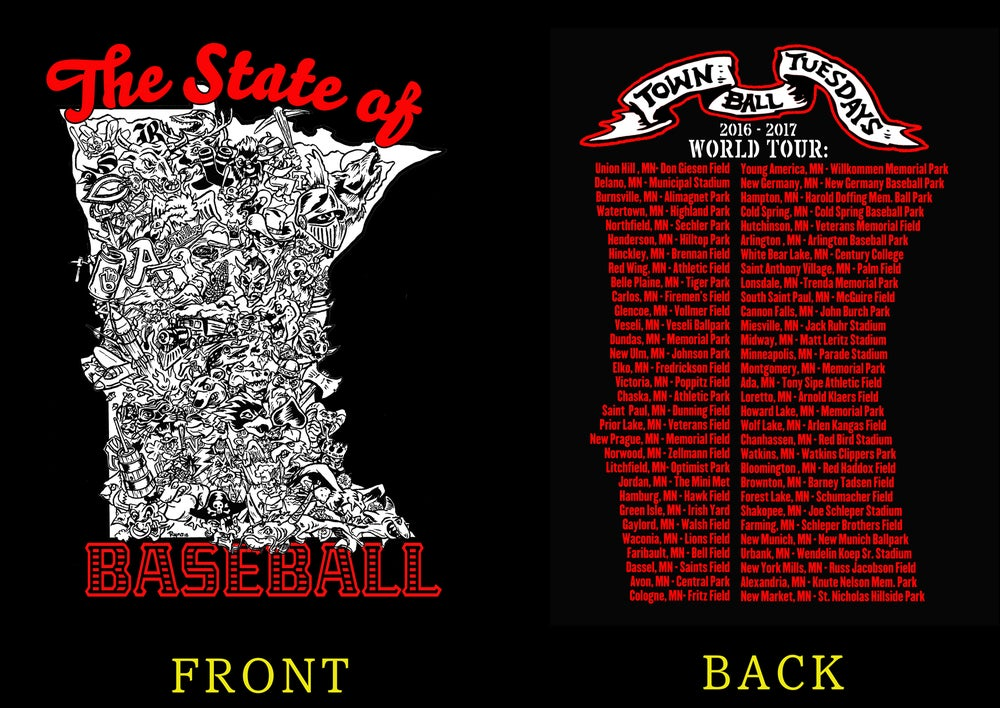 "Image of Town Ball Tuesdays ""State of Baseball"" T-Shirt"