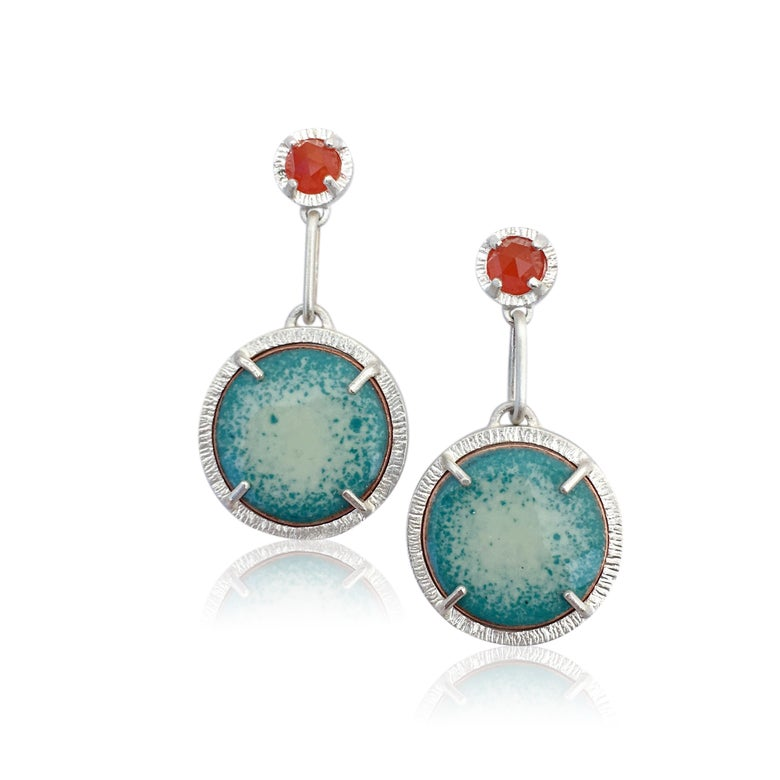 Image of fire and fog earrings in carnelian and enamel