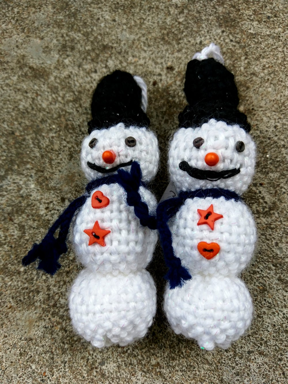 Image of Snowman Ornament, handwoven, handmade