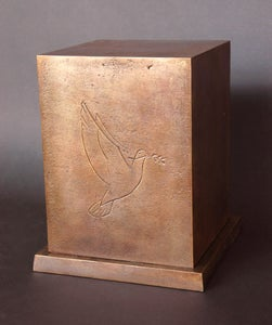 Image of Large bronze urn with Dove