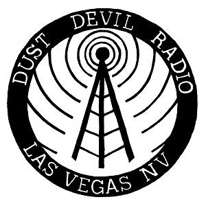 Image of Dust Devil Radio sticker - Black on White, ALMOST GONE!