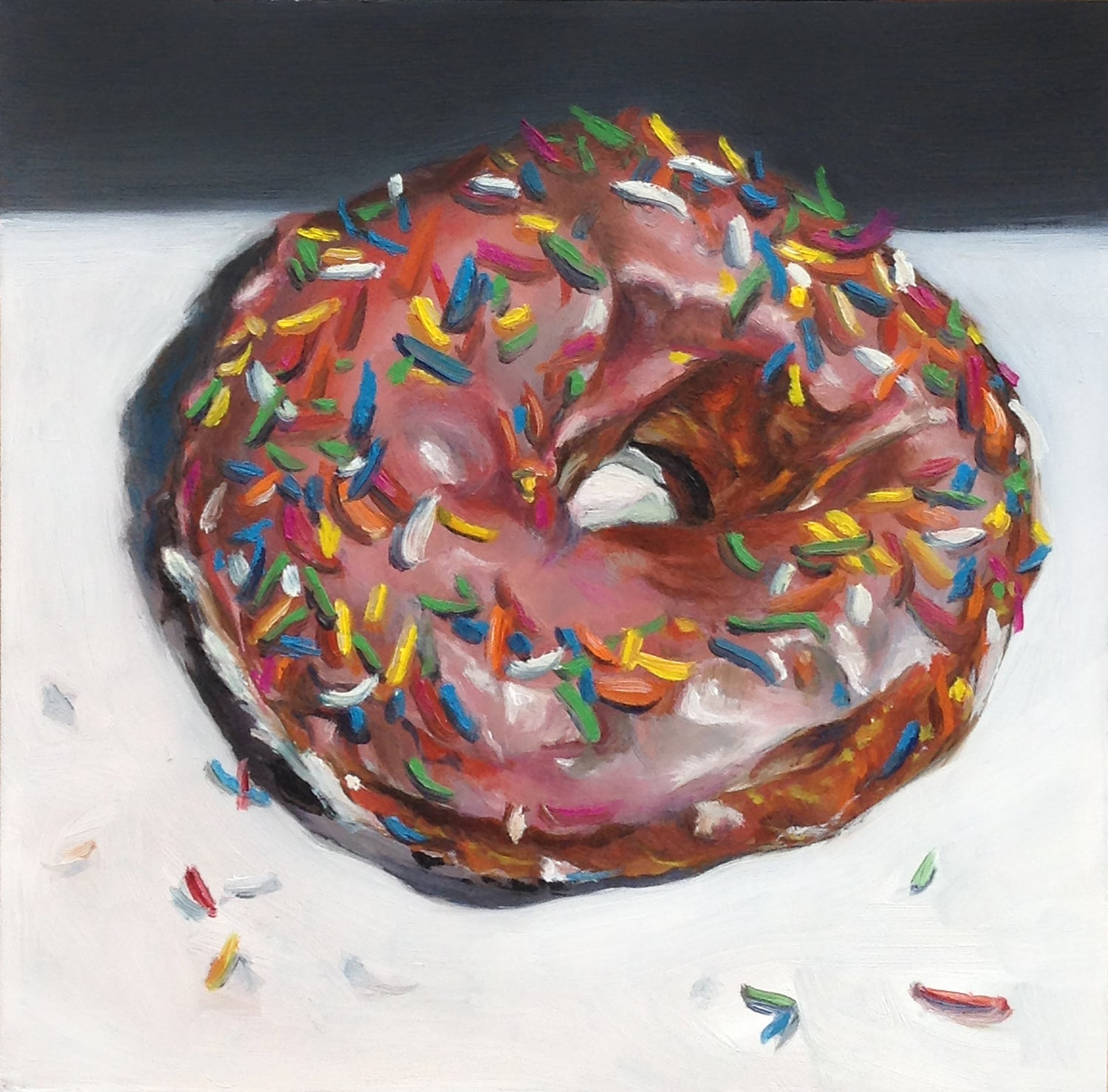 Image of Strawberry Glazed Doughnut with Multi-Color Sprinkles