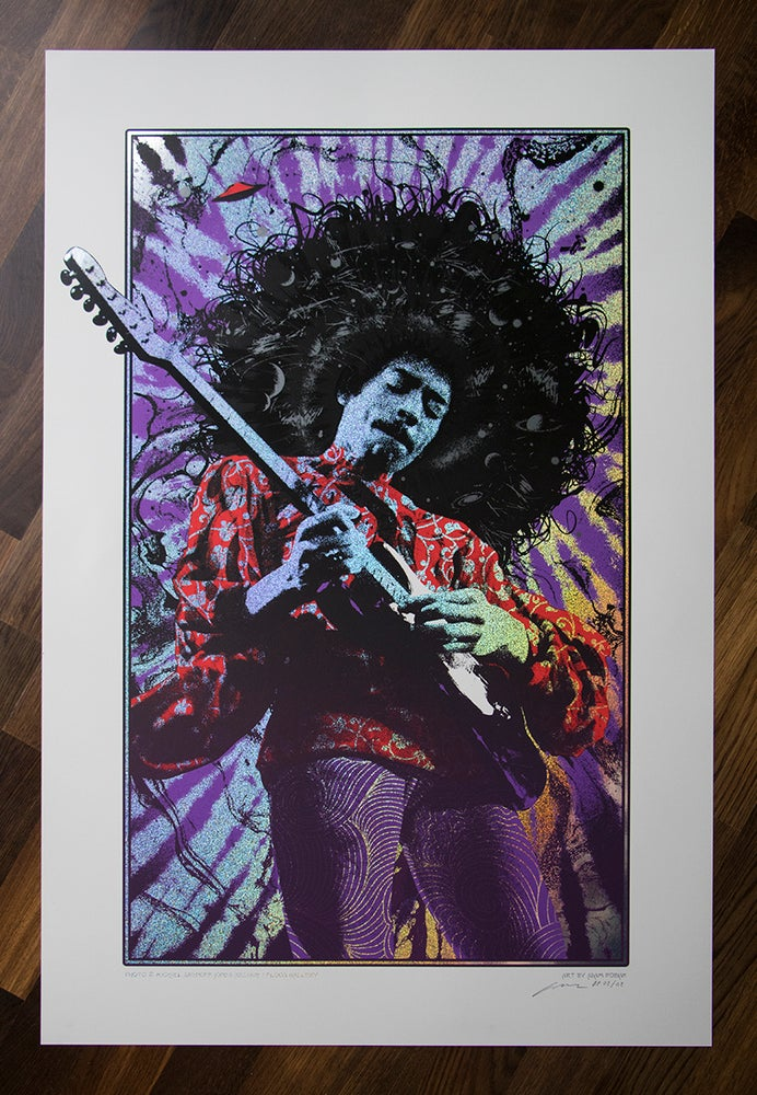 Image of Jimi Hendrix Purple Haze Sparkle Foil Variant AP Edition of 2