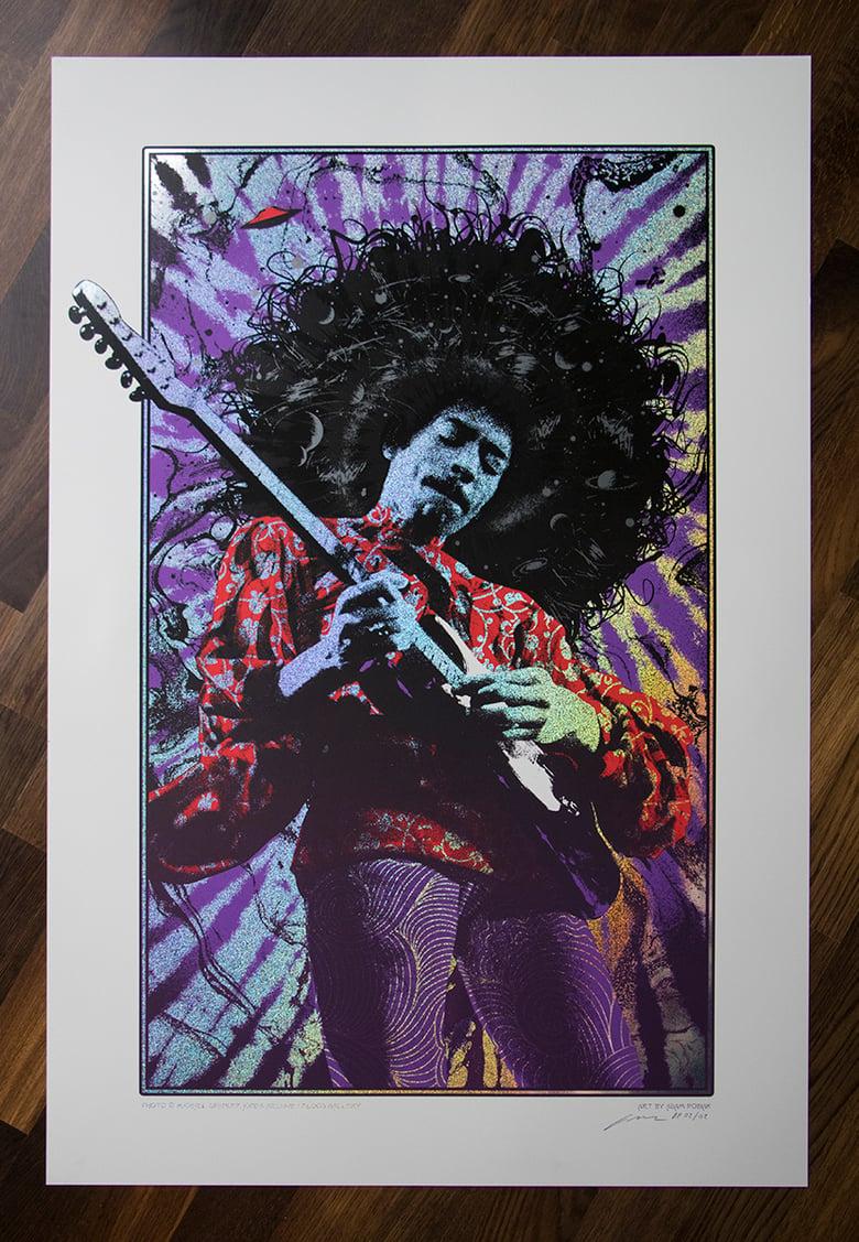 Image of Jimi Hendrix Purple Haze Sparkle Foil Variant AP Edition of 2