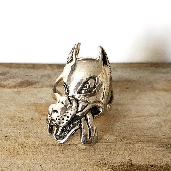 Image of Wolf Ring Cast in Sterling Silver