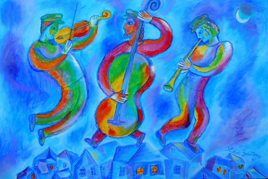 Image of Jewish Klezmer on the roof Music Jewish Judaical Original Painting. Free Shipping to US and Canada
