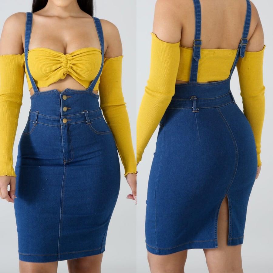 Image of Denim overall skirt
