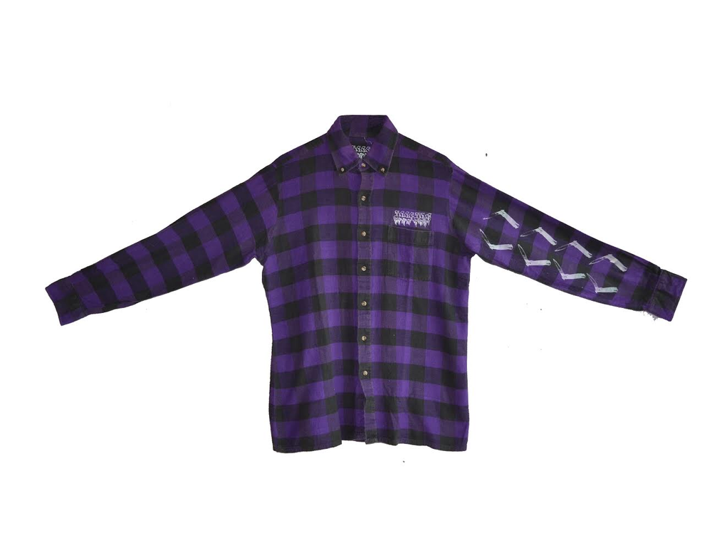 "Image of ""SUSPECT"" - FLANNEL(BLACK/PURPLE)"