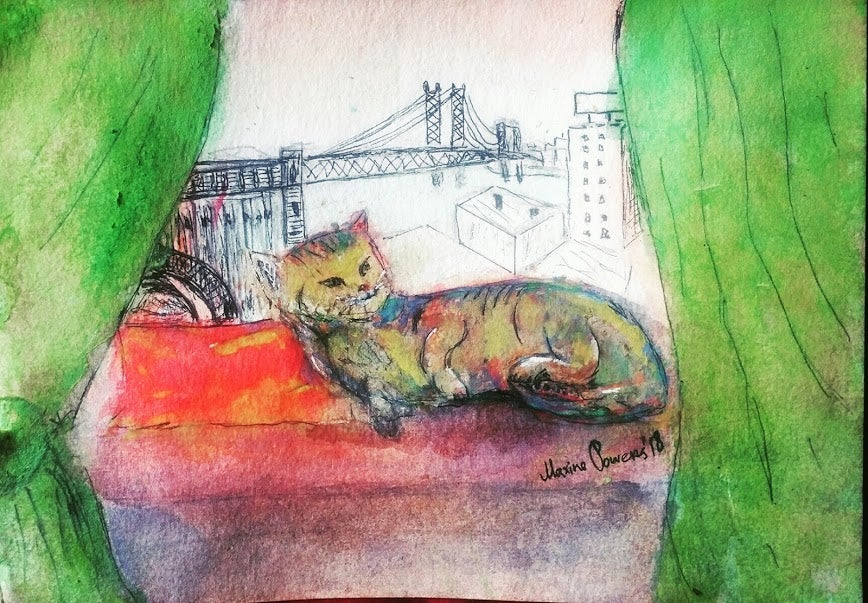 "Image of 'The Cat."" Watercolor"