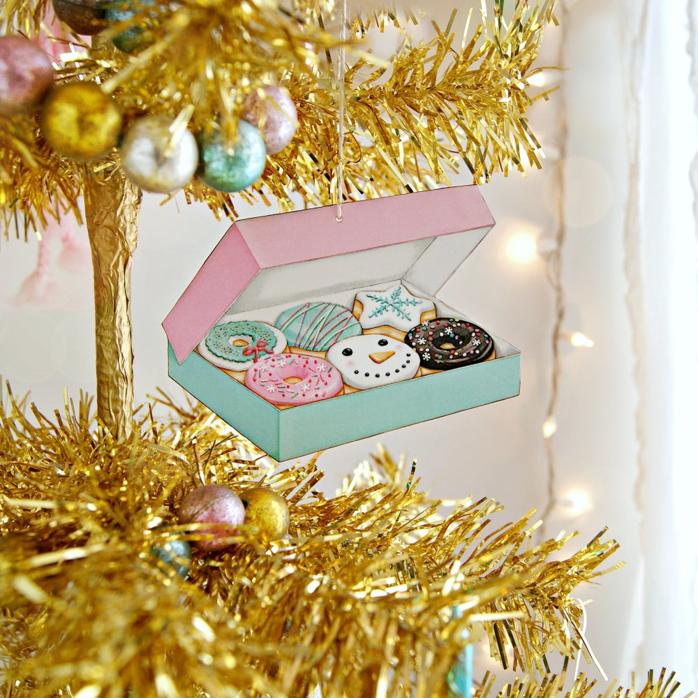 Image of Box of Christmas/winter Donuts ornament