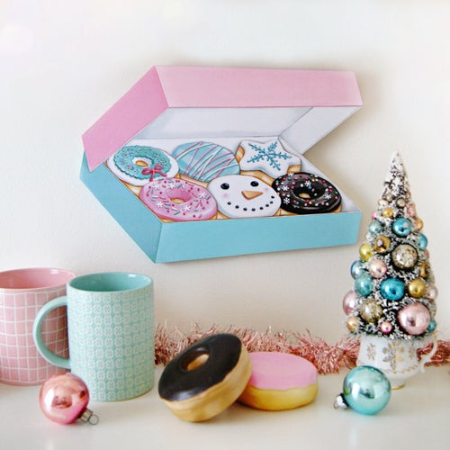 Image of Box of Christmas/winter Donuts plaque