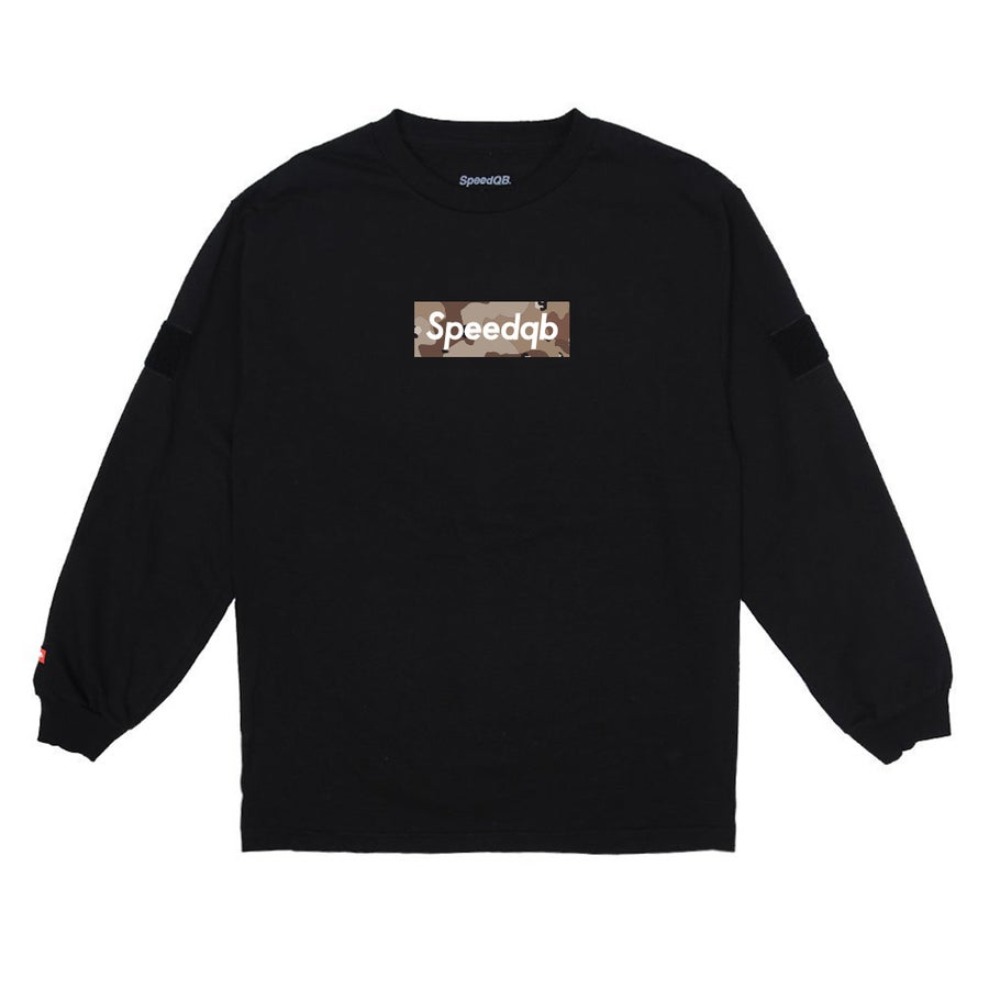Image of SpeedQB Desert Camo Box Logo LS Tee - Black