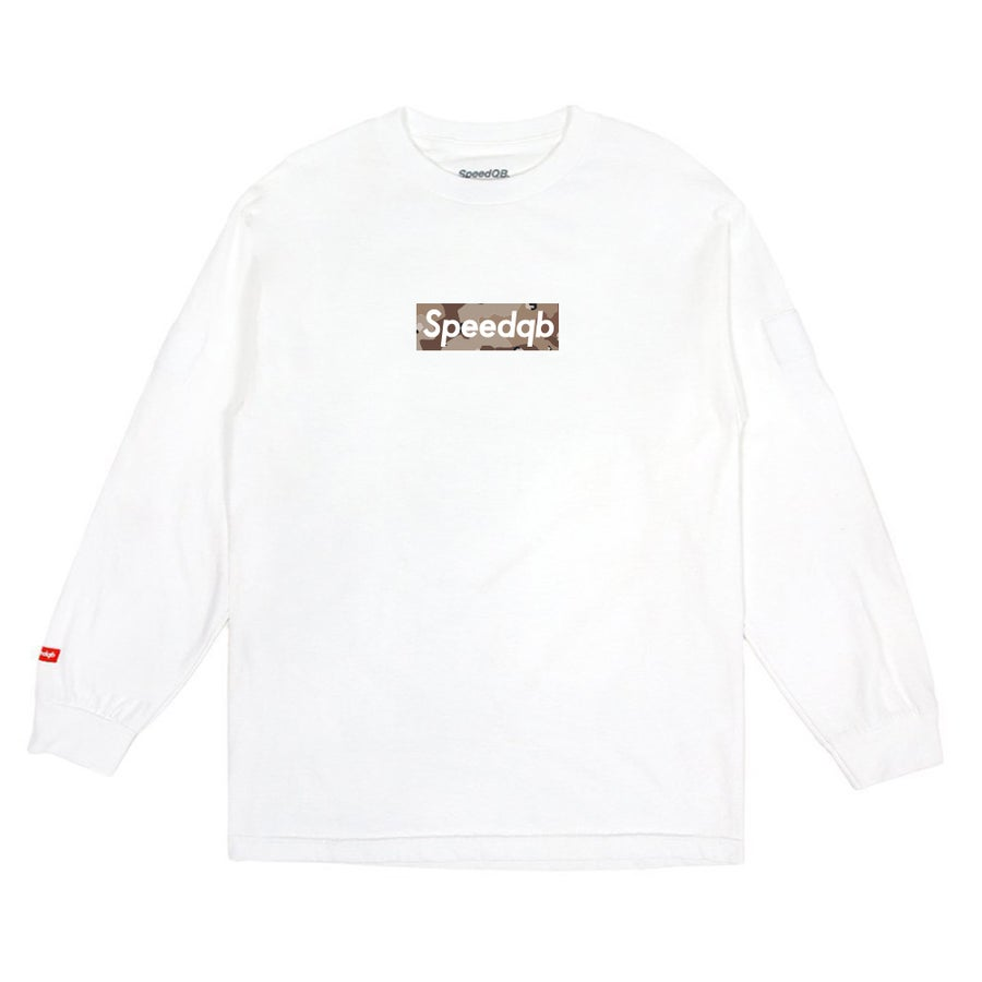 Image of SpeedQB Desert Camo Box Logo LS Tee - White