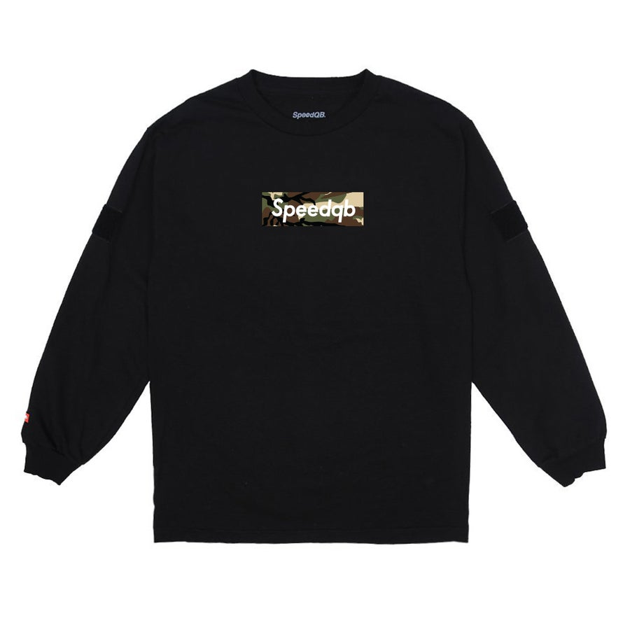 Image of SpeedQB Woodland Camo Box Logo LS Tee - Black