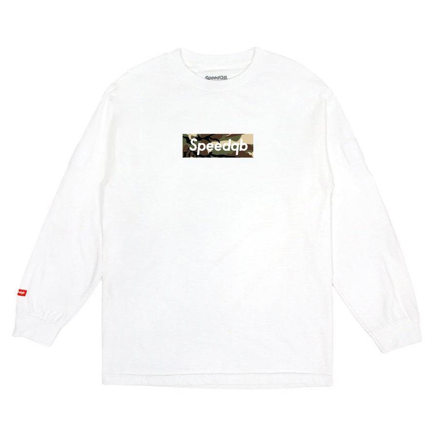 Image of SpeedQB Woodland Camo Box Logo LS Tee - White