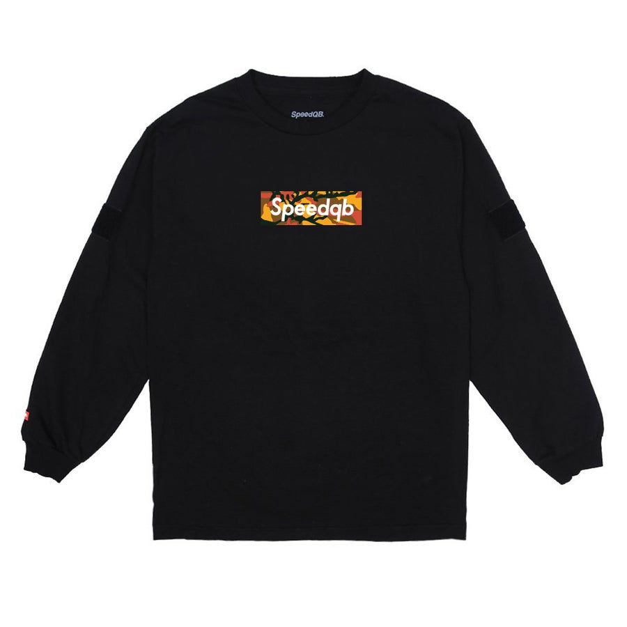 Image of SpeedQB Orange Camo Box Logo LS Tee - Black