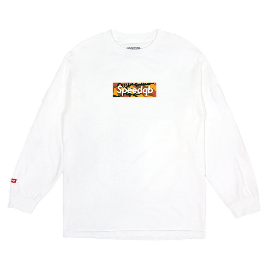 Image of SpeedQB Orange Camo Box Logo LS Tee - White