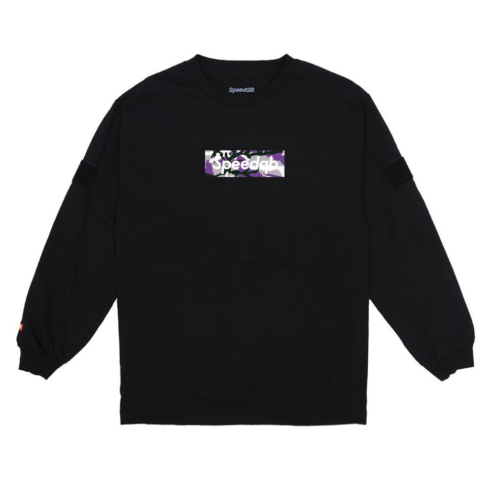 Image of SpeedQB Purple Camo Box Logo LS Tee - Black