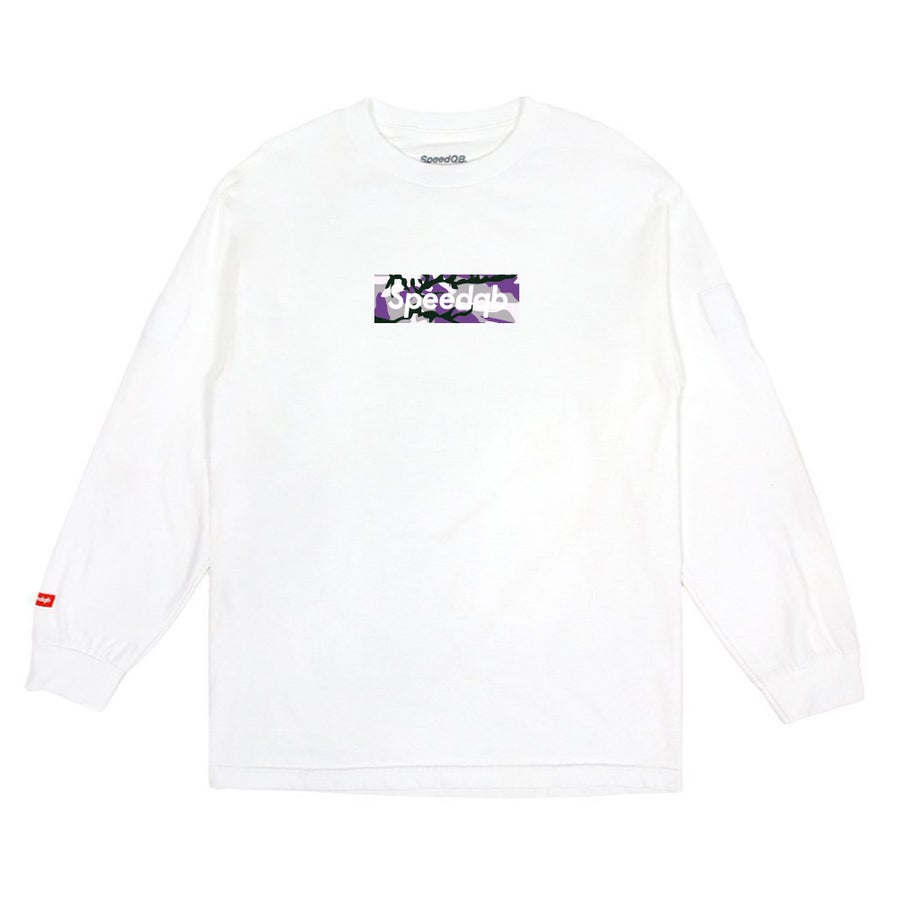 Image of SpeedQB Purple Camo Box Logo LS Tee - White
