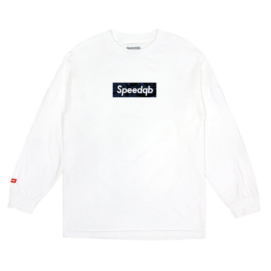 Image of SpeedQB Blue Glitch Camo Box Logo LS Tee - White