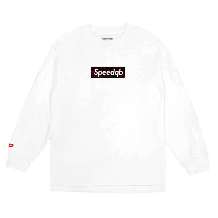 Image of SpeedQB Red Glitch Camo Box Logo LS Tee - White