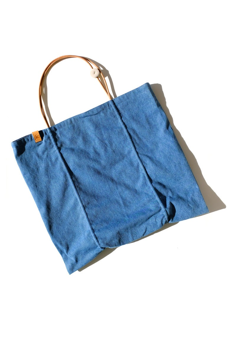 Image of reversible square tote - denim charcoal