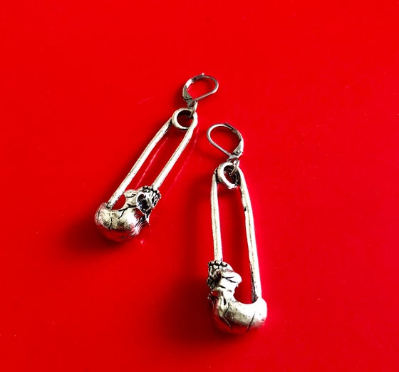 Image of SAFETY PIN SKULL EARRINGS