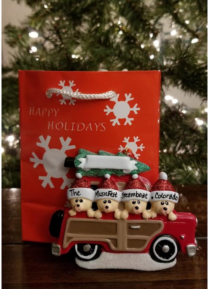 Image of Woody Wagon Family - 4 Christmas Ornament