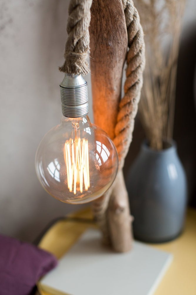 Image of Driftwood lamp SNAKE with large Edison bulb.