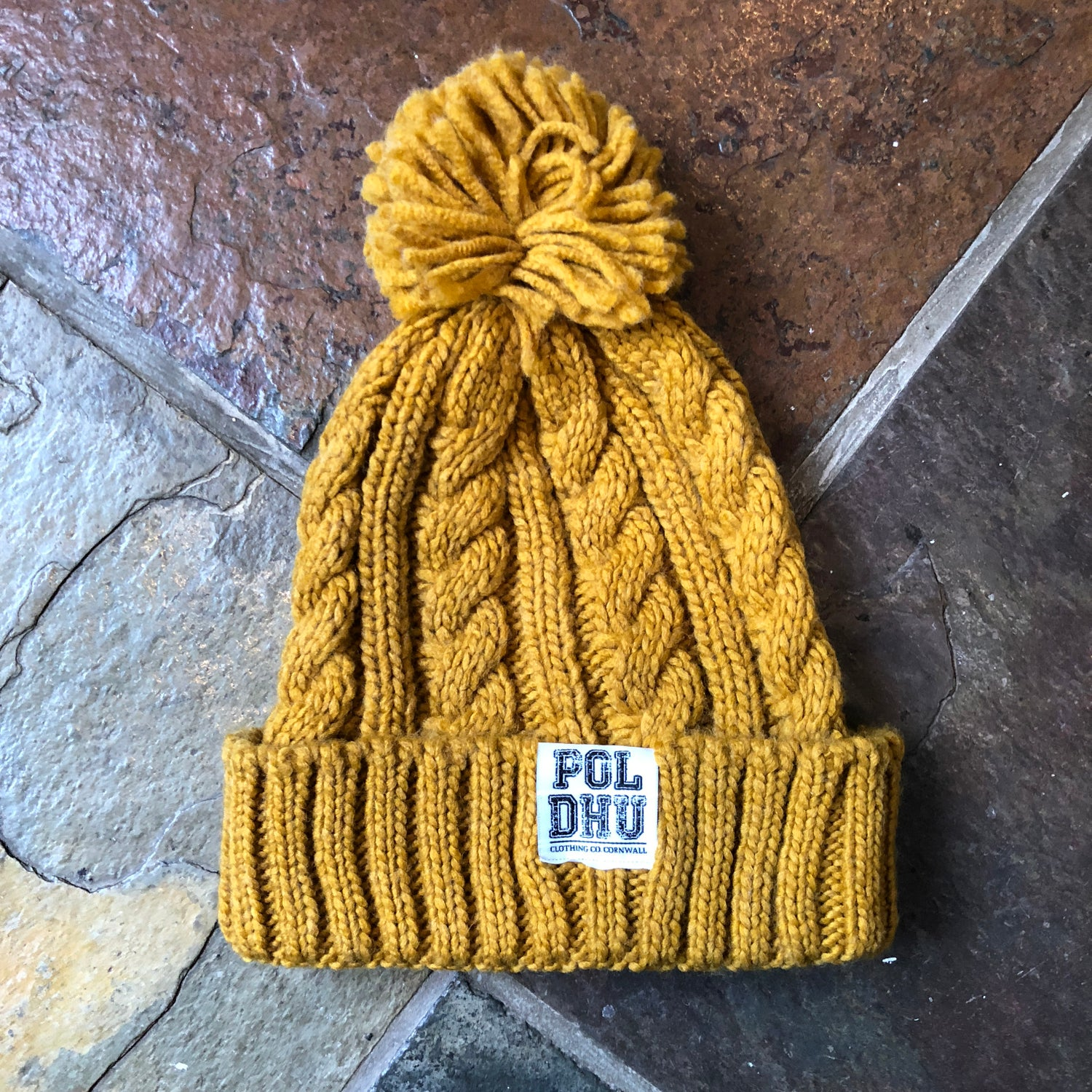Image of CABLE KNIT BOBBLE - MUSTARD