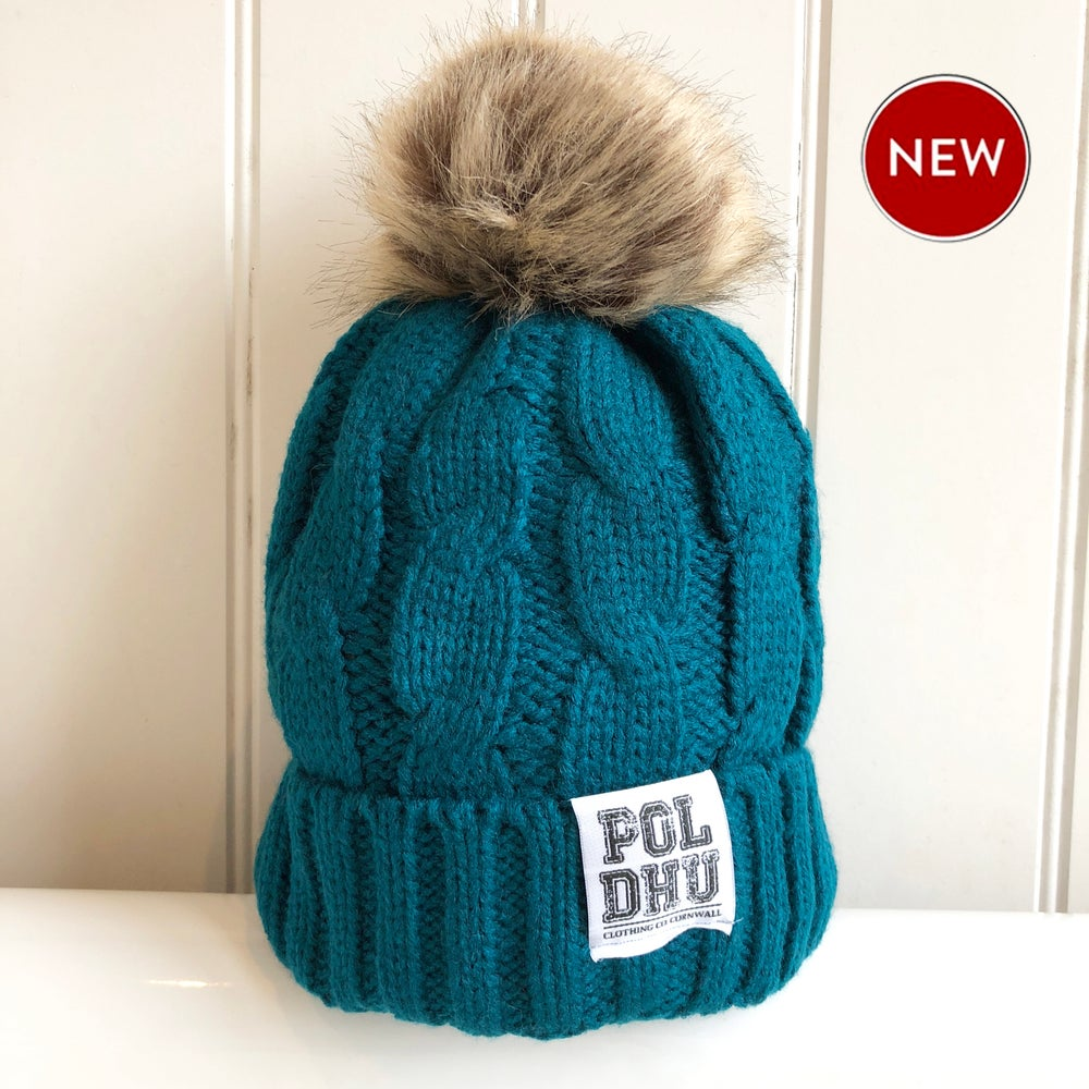 Image of POLDHU Fully Lined POM POM Bobble - TEAL